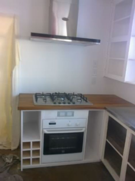 Solid pine kitchen unit, recycled rimu benchtop